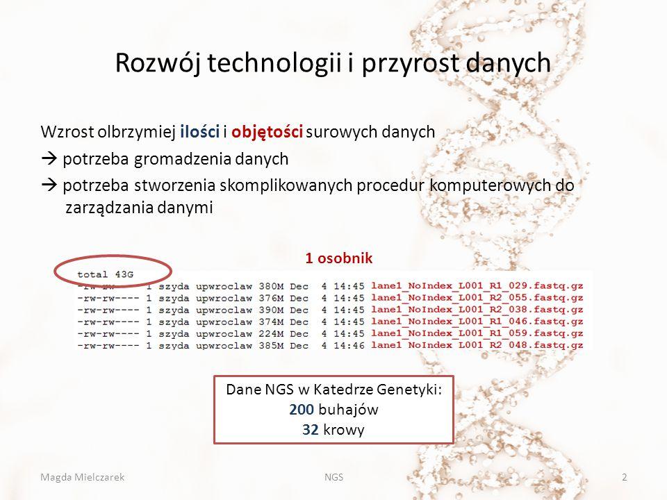 Poszukiwanie polimorfizmów SNP – Polimorfizm pojedynczego nukleotydu ACTGACTGACTGCCCGTTCCA ACTGACTCACTGCCCGTTCCG INDEL: insercja delecja ACTGACTGACTGCCCGTTCCA ACTGACTGACTGCCCGTTCC ACTGACTGACTGGCTCCCGTTCCAACTGA - - - - CTGCCCGTTCC Magda MielczarekNGS33