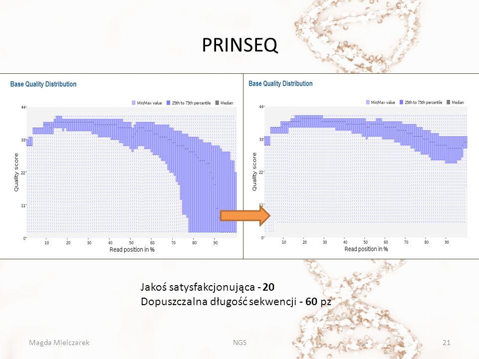 PRINSEQ Jakoś satysfakcjonująca - 20 Dopuszczalna długość sekwencji - 60 pz Magda Mielczarek21NGS