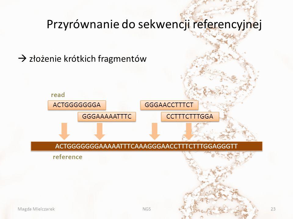 Przyrównanie do sekwencji referencyjnej NGS23  złożenie krótkich fragmentów ACTGGGGGGGAAAAATTTCAAAGGGAACCTTTCTTTGGAGGGTT ACTGGGGGGGA GGGAAAAATTTC GGG