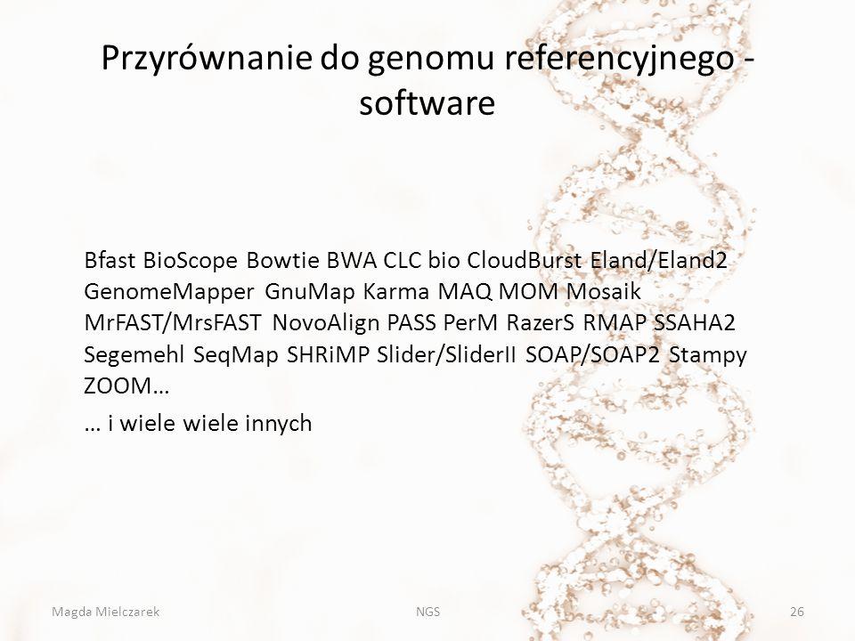 Przyrównanie do genomu referencyjnego - software Bfast BioScope Bowtie BWA CLC bio CloudBurst Eland/Eland2 GenomeMapper GnuMap Karma MAQ MOM Mosaik Mr