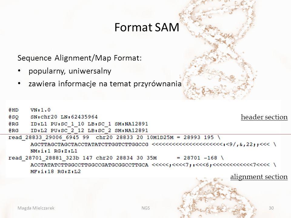 Format SAM Sequence Alignment/Map Format: popularny, uniwersalny zawiera informacje na temat przyrównania Magda MielczarekNGS30 header section alignme