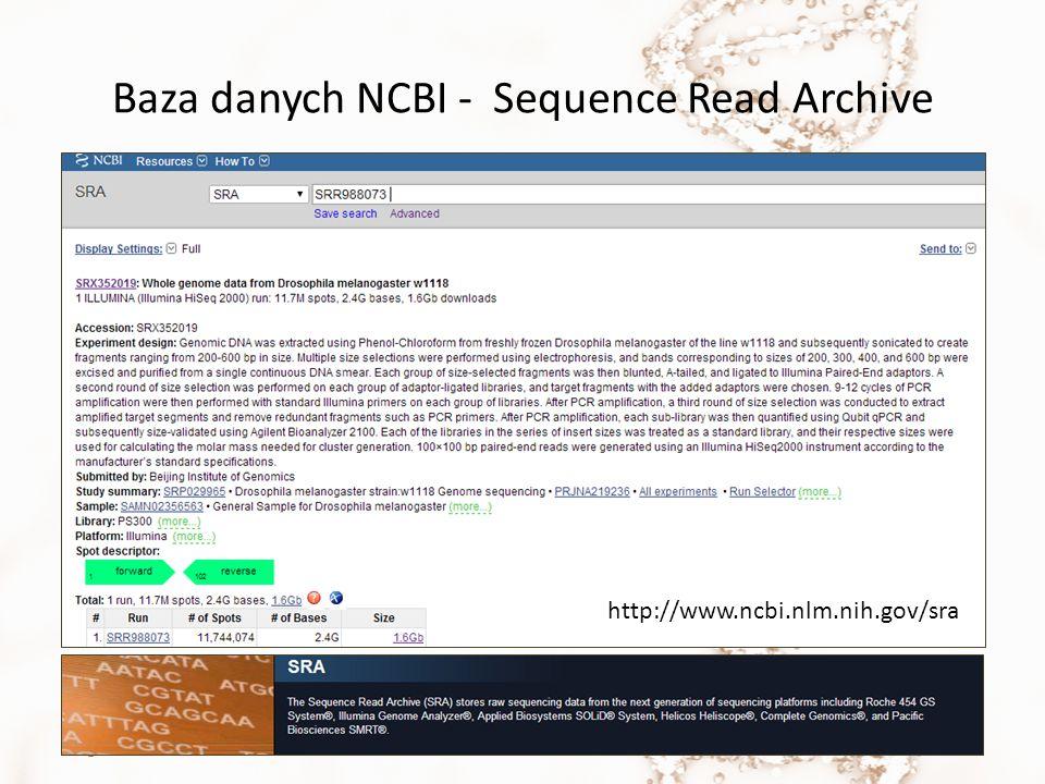 Baza danych NCBI - Sequence Read Archive Magda MielczarekNGS5 http://www.ncbi.nlm.nih.gov/sra