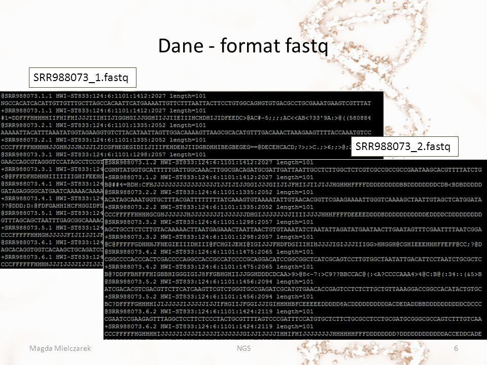 Dane - format fastq 1.Nazwa sekwencji 2. Sekwencja 3.
