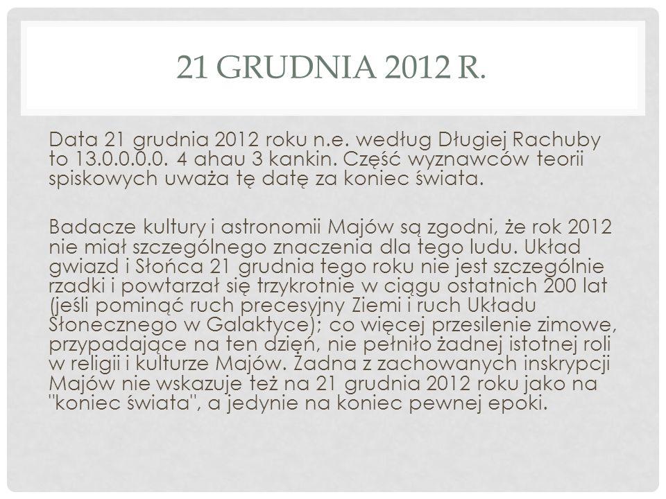 21 GRUDNIA 2012 R. Data 21 grudnia 2012 roku n.e. według Długiej Rachuby to 13.0.0.0.0. 4 ahau 3 kankin. Część wyznawców teorii spiskowych uważa tę da