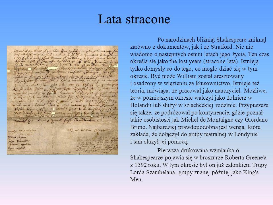 Lata stracone Po narodzinach bliźniąt Shakespeare zniknął zarówno z dokumentów, jak i ze Stratford.