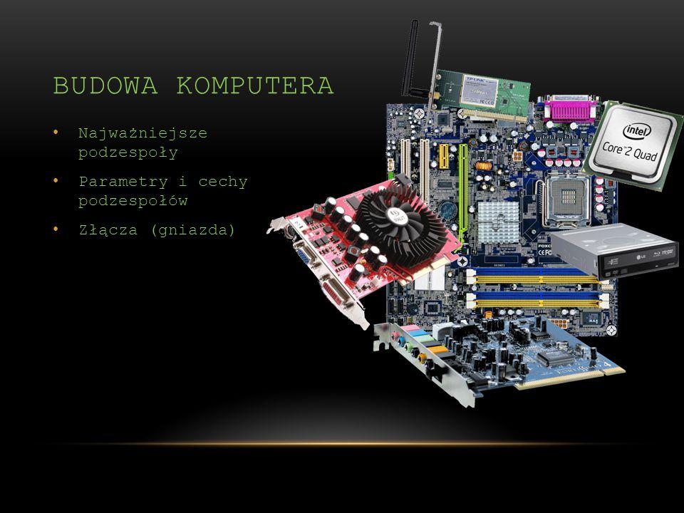 Najważniejsze podzespoły Parametry i cechy podzespołów Złącza (gniazda) BUDOWA KOMPUTERA