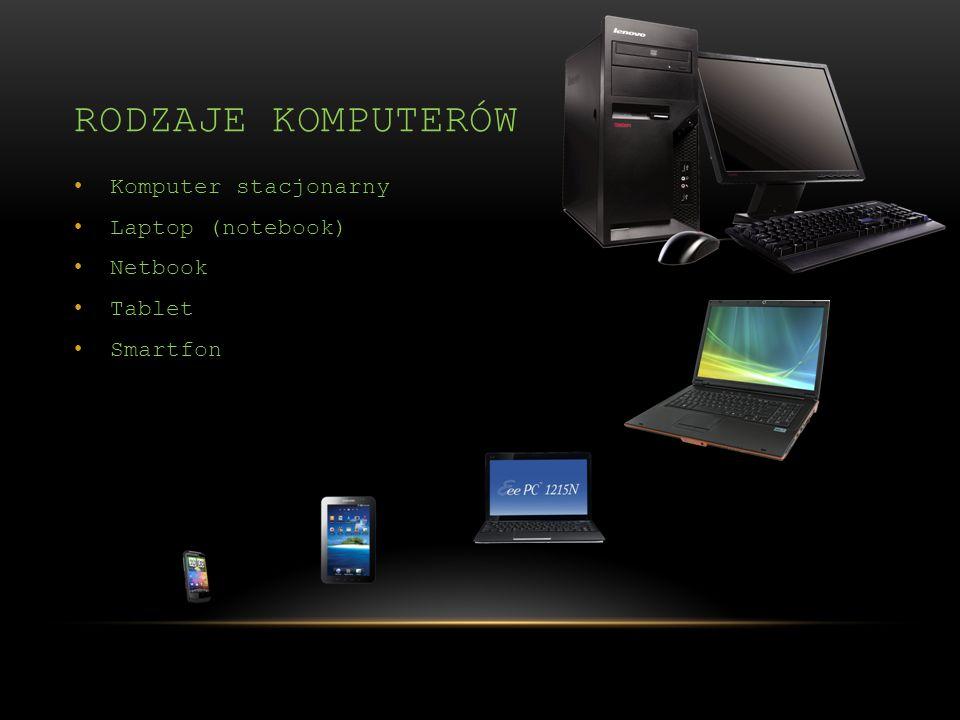 Komputer stacjonarny Laptop (notebook) Netbook Tablet Smartfon RODZAJE KOMPUTERÓW