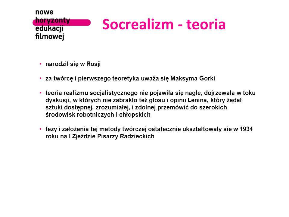 """Socrealizm - cechy punktem wyjścia jest filozofia marksistowsko-leninowska i ruch komunistyczny najważniejsze stało się ideowe zaangażowanie pisarza i wytyczne partii tematy wyznaczać miało """"zamówienie społeczne (płynące z góry, od urzędów partyjnych ) przedmiotem zainteresowania artystów powinny być przemiany rewolucyjne dokonujące się aktualnie, tworzenie się nowego społeczeństwa i wysiłek przebudowy kraju sztuka tendencyjna tematyka i problematyka współczesna prostota, jasność i komunikatywność w doborze środków ekspresji narzędziem ideologicznej propagandy była nowomowa (newspeak)"""