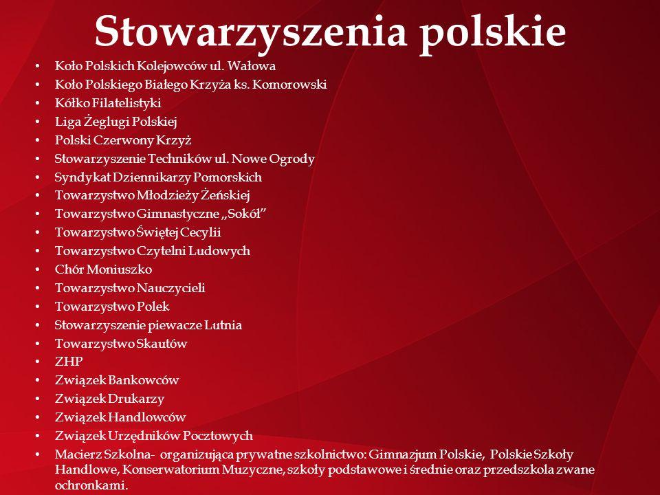 Stowarzyszenia polskie Koło Polskich Kolejowców ul. Wałowa Koło Polskiego Białego Krzyża ks. Komorowski Kółko Filatelistyki Liga Żeglugi Polskiej Pols