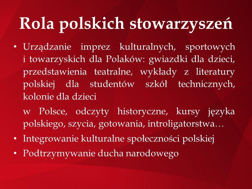 Rola polskich stowarzyszeń Urządzanie imprez kulturalnych, sportowych i towarzyskich dla Polaków: gwiazdki dla dzieci, przedstawienia teatralne, wykła
