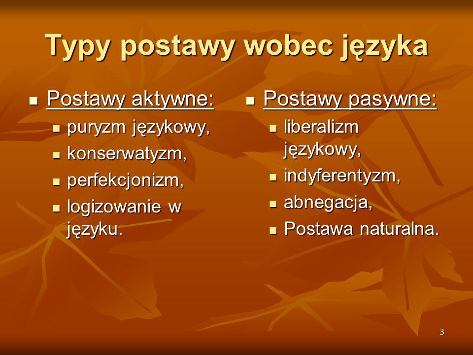 3 Typy postawy wobec języka Postawy aktywne: Postawy aktywne: puryzm językowy, puryzm językowy, konserwatyzm, konserwatyzm, perfekcjonizm, perfekcjoni