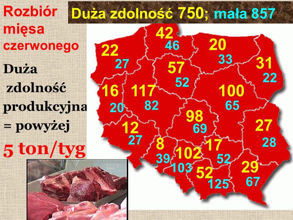 Rozbiór mięsa czerwonego Duża zdolność produkcyjna = powyżej 5 ton/tyg. 31 22 57 52 42 46 102 103 17 52 125 29 67 27 28 98 69 20 33 8 39 117 82 100 65