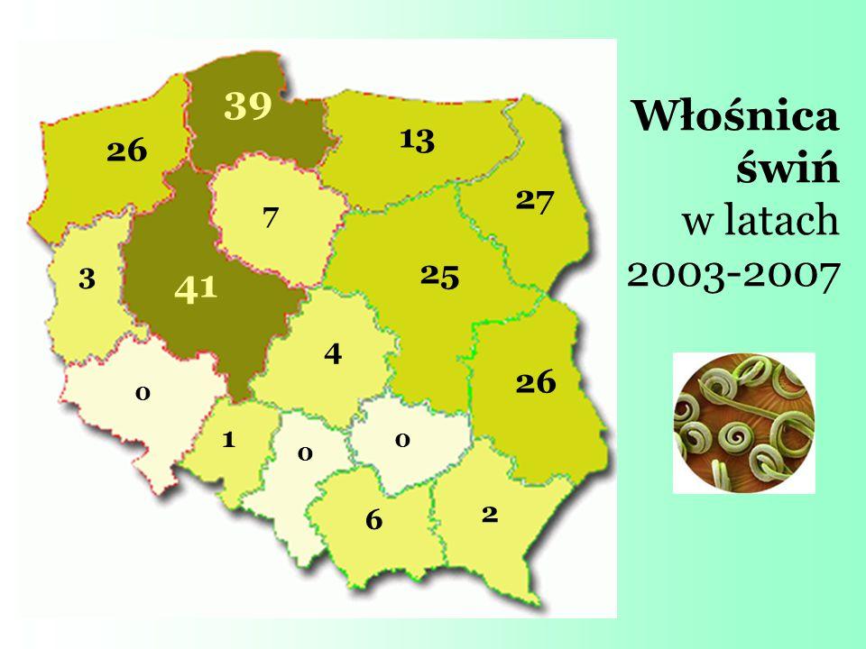 Włośnica świń w latach 2003-2007 0 0 0 1 2 3 4 6 7 13 25 26 27 39 41