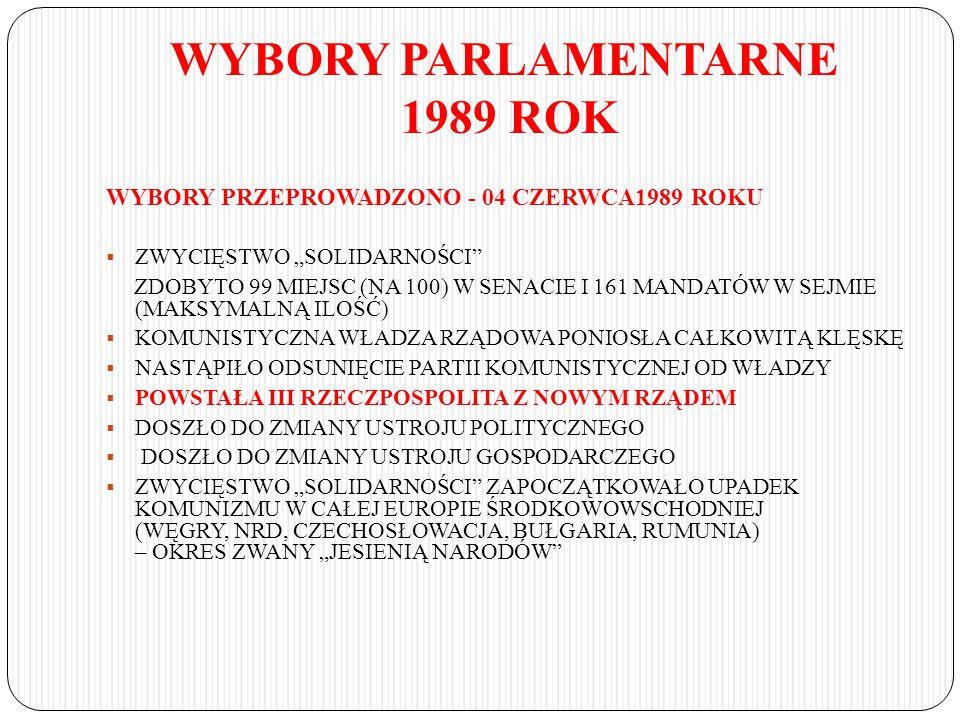 """WYBORY PARLAMENTARNE 1989 ROK WYBORY PRZEPROWADZONO - 04 CZERWCA1989 ROKU  ZWYCIĘSTWO """"SOLIDARNOŚCI"""" ZDOBYTO 99 MIEJSC (NA 100) W SENACIE I 161 MANDA"""