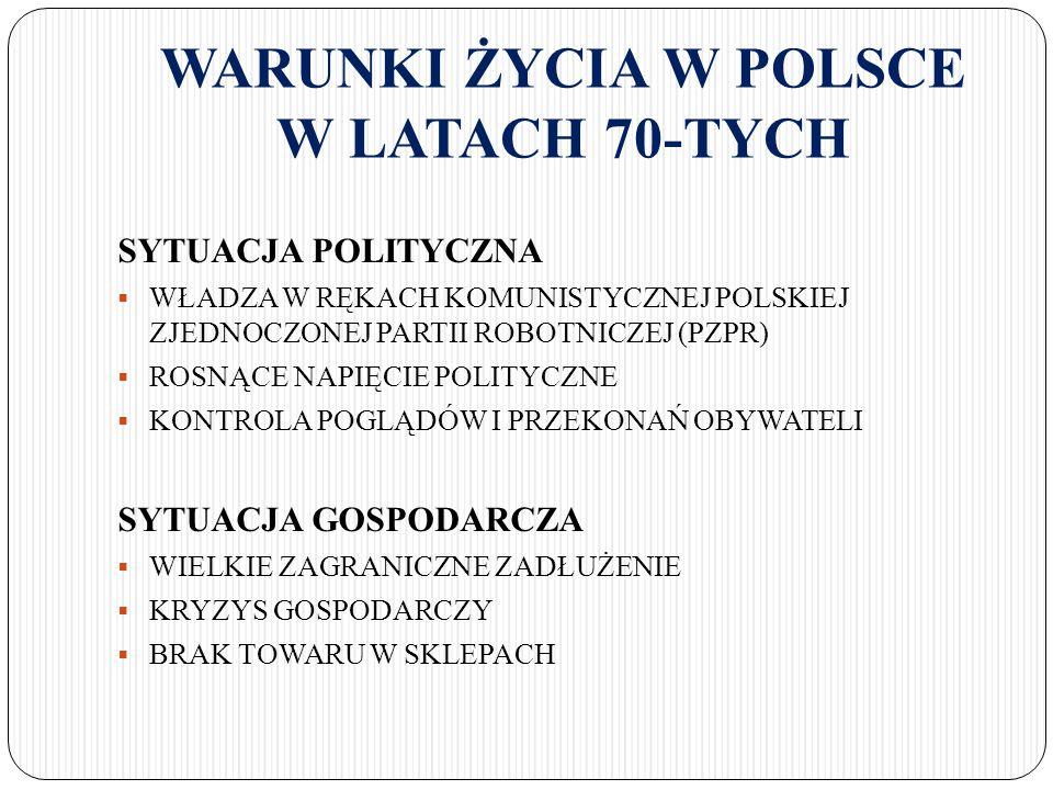 WARUNKI ŻYCIA W POLSCE W LATACH 70-TYCH SYTUACJA POLITYCZNA  WŁADZA W RĘKACH KOMUNISTYCZNEJ POLSKIEJ ZJEDNOCZONEJ PARTII ROBOTNICZEJ (PZPR)  ROSNĄCE