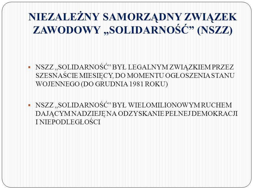 """STAN WOJENNY  13 GRUDNIA 1981 ROKU - GENERAŁ WOJCIECH JARUZELSKI WPROWADZIŁ STAN WOJENNY  ZAWIESZONO DZIAŁALNOŚĆ NSZZ """"SOLIDARNOŚĆ  INTERNOWANO (OSADZONO W WIĘZIENIACH) TYSIĄCE CZŁONKÓW """"SOLIDARNOŚCI  WPROWADZONO GODZINĘ MILICYJNĄ (ZAKAZ PORUSZANIA SIĘ PO ULICACH W GODZINACH WIECZORNYCH I NOCNYCH)  WPROWADZONO CENZURĘ (KONTROLA SŁOWA I DRUKU)  ZAMKNIĘTO WIĘKSZOŚĆ GAZET I CZASOPISM  WŁADZA RZĄDZĄCA BRUTALNIE TŁUMIŁA PROTESTY, STRAJKI I MANIFESTACJE (16 GRUDNIA ATAK ZOMO NA STRAJKUJĄCYCH W KOPALNI """"WUJEK , GDZIE W STARCIACH Z MILICJĄ ZGINĘŁO 9 GÓRNIKÓW, A WIELU ZOSTAŁO CIĘŻKO RANNYCH)"""