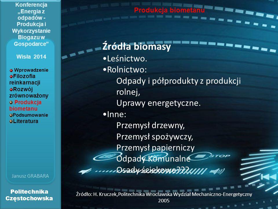 """Politechnika Częstochowska Janusz GRABARA Konferencja """"Energia z odpadów - Produkcja i Wykorzystanie Biogazu w Gospodarce"""" Wisła 2014 Produkcja biomet"""