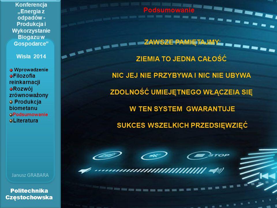 """Politechnika Częstochowska Janusz GRABARA Konferencja """"Energia z odpadów - Produkcja i Wykorzystanie Biogazu w Gospodarce Wisła 2014 Podsumowanie ZAWSZE PAMIĘTAJMY: ZIEMIA TO JEDNA CAŁOŚĆ NIC JEJ NIE PRZYBYWA I NIC NIE UBYWA ZDOLNOŚĆ UMIEJĘTNEGO WŁĄCZEIA SIĘ W TEN SYSTEM GWARANTUJE SUKCES WSZELKICH PRZEDSIĘWZIĘĆ Wprowadzenie Filozofia reinkarnacji Rozwój zrównoważony Produkcja biometanu Podsumowanie Literatura"""