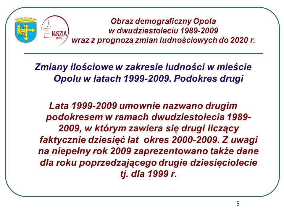 5 Zmiany ilościowe w zakresie ludności w mieście Opolu w latach 1999-2009. Podokres drugi Lata 1999-2009 umownie nazwano drugim podokresem w ramach dw