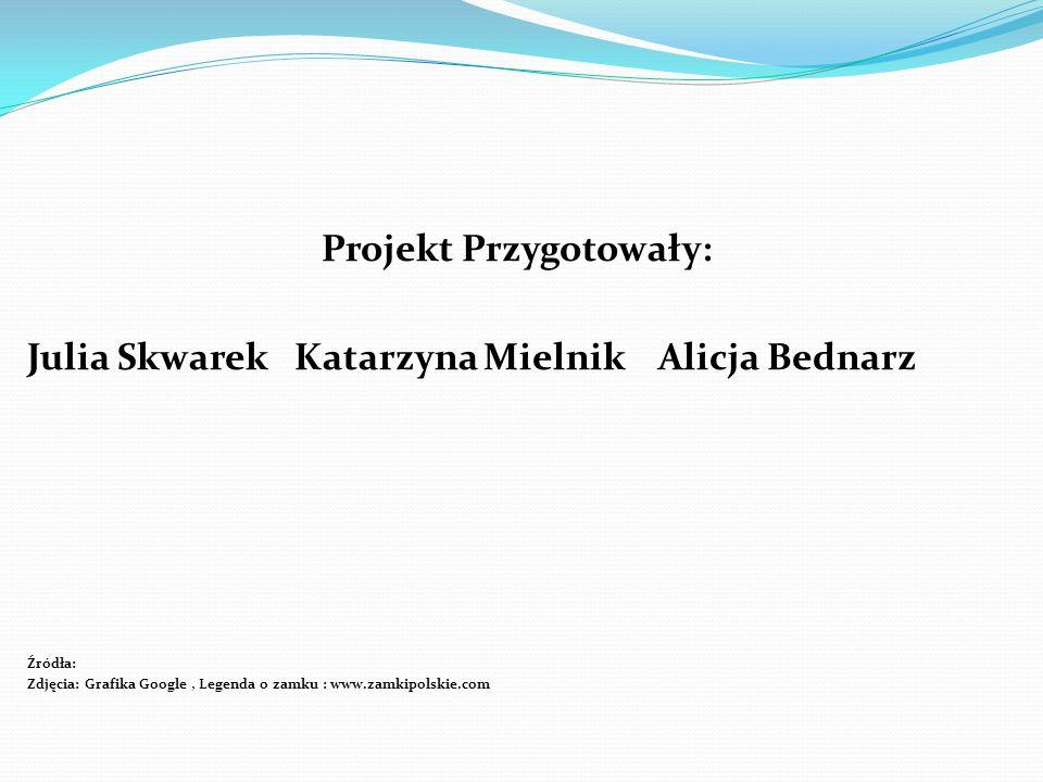 Projekt Przygotowały: Julia Skwarek Katarzyna Mielnik Alicja Bednarz Źródła: Zdjęcia: Grafika Google, Legenda o zamku : www.zamkipolskie.com