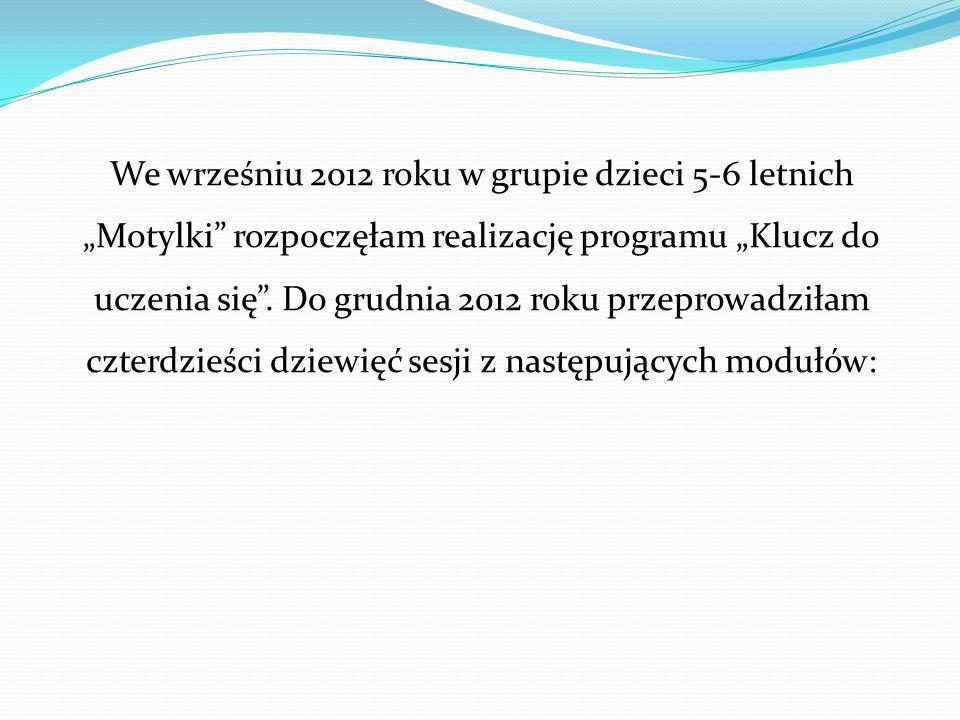 """We wrześniu 2012 roku w grupie dzieci 5-6 letnich """"Motylki rozpoczęłam realizację programu """"Klucz do uczenia się ."""