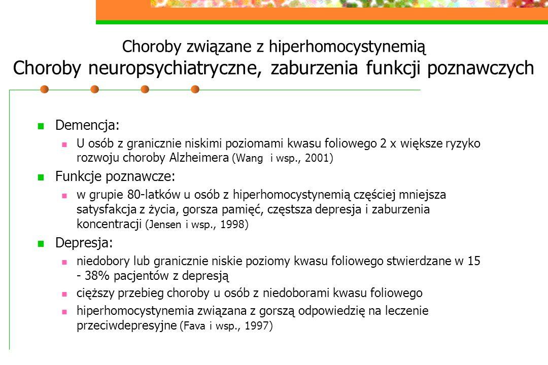 Choroby związane z hiperhomocystynemią Choroby neuropsychiatryczne, zaburzenia funkcji poznawczych Demencja: U osób z granicznie niskimi poziomami kwa