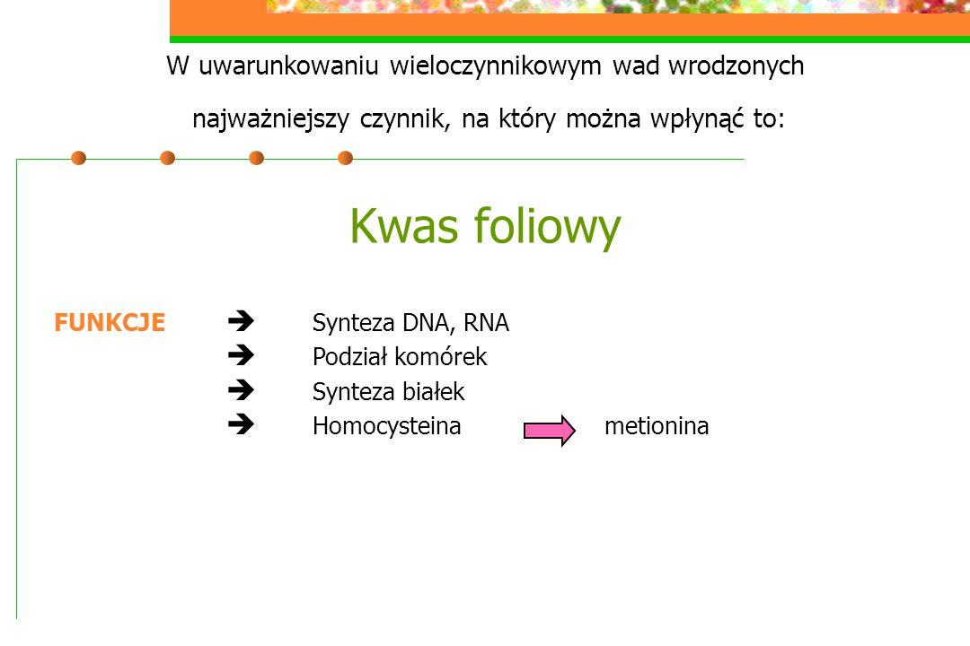 W uwarunkowaniu wieloczynnikowym wad wrodzonych najważniejszy czynnik, na który można wpłynąć to: Kwas foliowy FUNKCJE  Synteza DNA, RNA  Podział ko