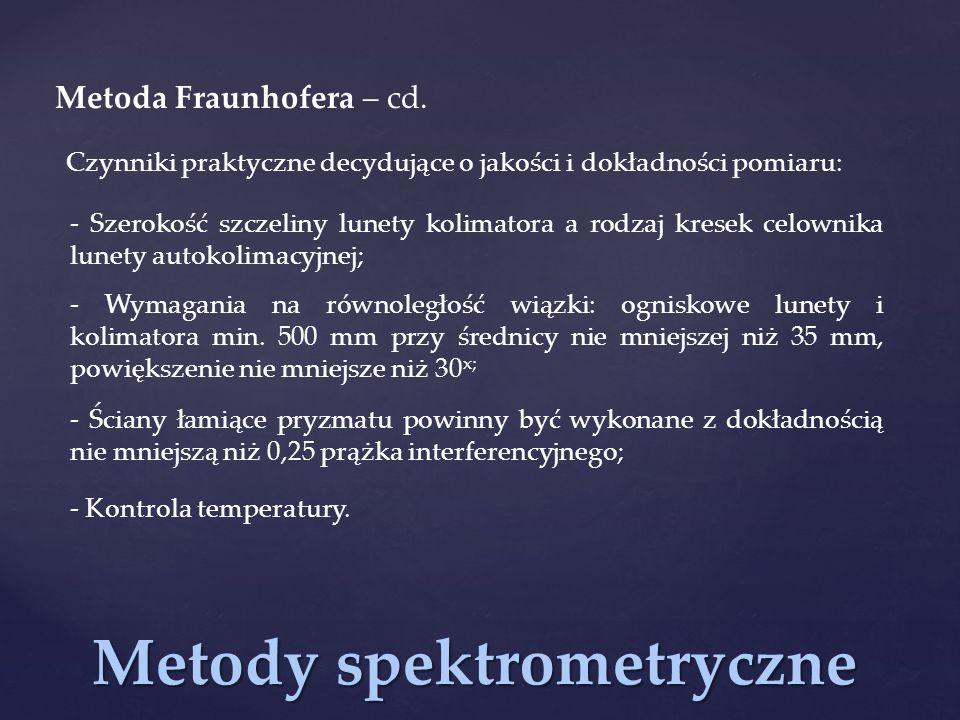 Metody spektrometryczne Metoda Fraunhofera – cd. Czynniki praktyczne decydujące o jakości i dokładności pomiaru: - Szerokość szczeliny lunety kolimato