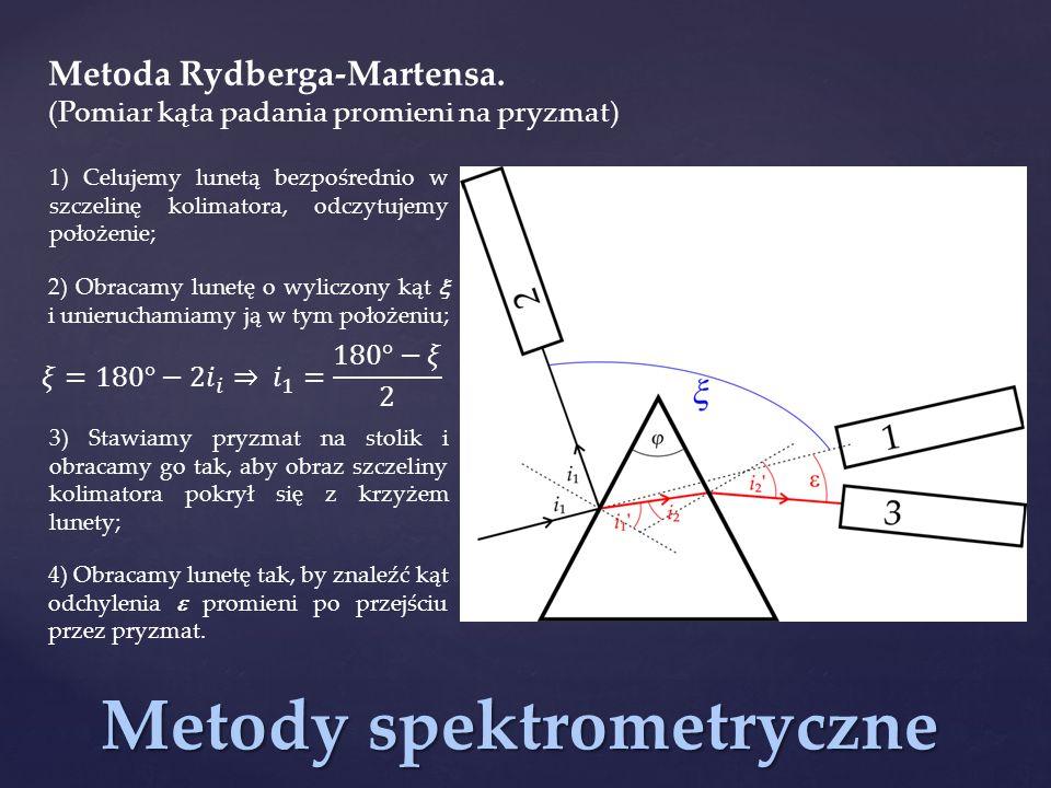Metody spektrometryczne Metoda Rydberga-Martensa. (Pomiar kąta padania promieni na pryzmat) 1) Celujemy lunetą bezpośrednio w szczelinę kolimatora, od