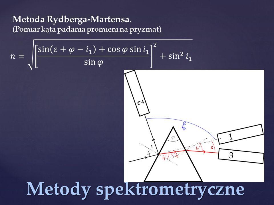 Metody spektrometryczne Metoda Rydberga-Martensa. (Pomiar kąta padania promieni na pryzmat)