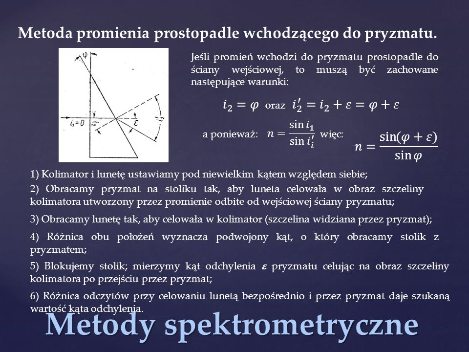 Metody spektrometryczne Metoda promienia prostopadle wchodzącego do pryzmatu. Jeśli promień wchodzi do pryzmatu prostopadle do ściany wejściowej, to m