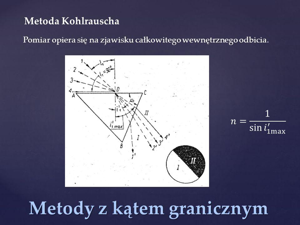Metody z kątem granicznym Metoda Kohlrauscha Pomiar opiera się na zjawisku całkowitego wewnętrznego odbicia.
