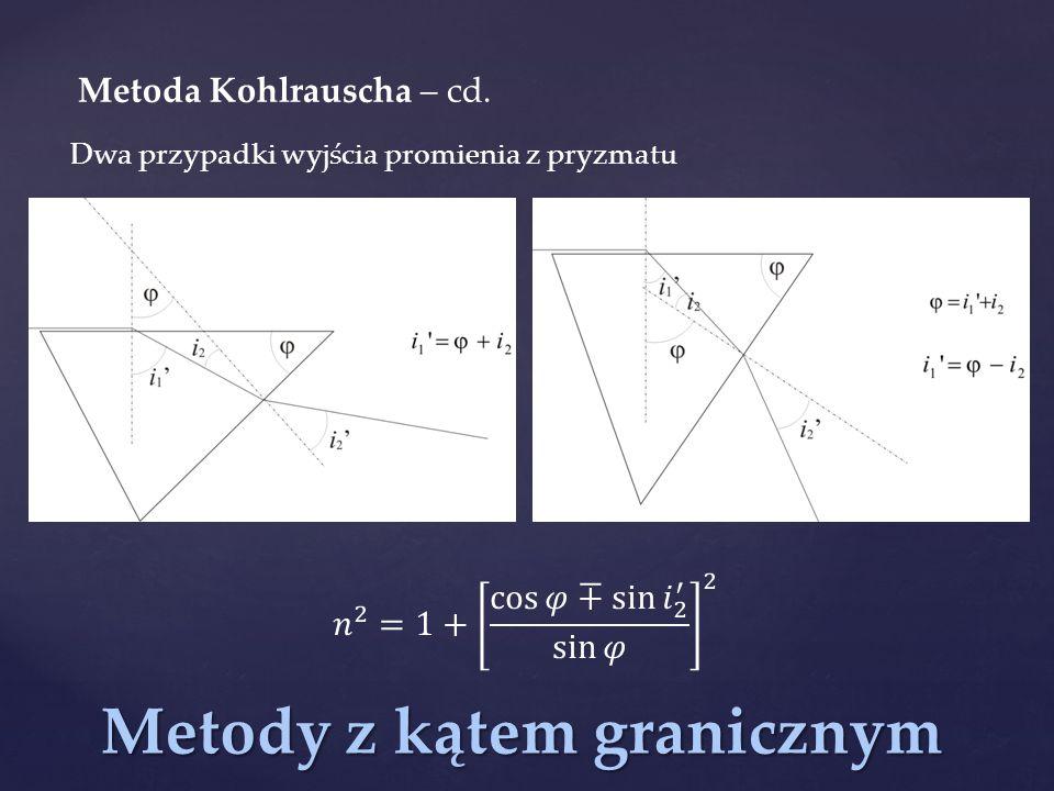 Metody z kątem granicznym Metoda Kohlrauscha – cd. Dwa przypadki wyjścia promienia z pryzmatu