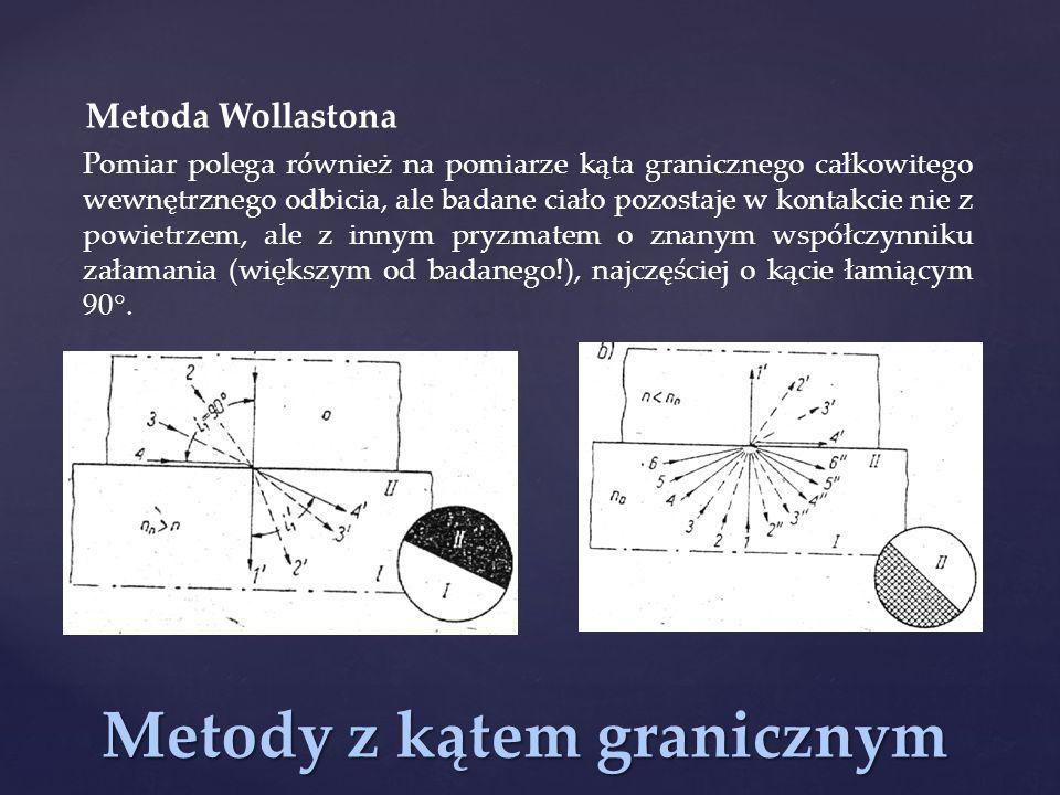 Metody z kątem granicznym Metoda Wollastona Pomiar polega również na pomiarze kąta granicznego całkowitego wewnętrznego odbicia, ale badane ciało pozo