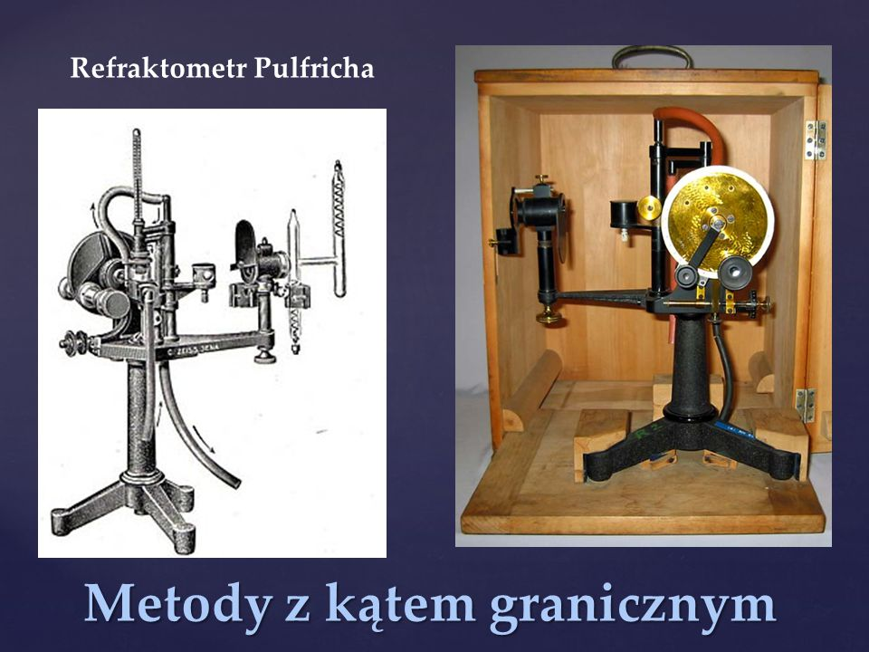 Metody z kątem granicznym Refraktometr Pulfricha