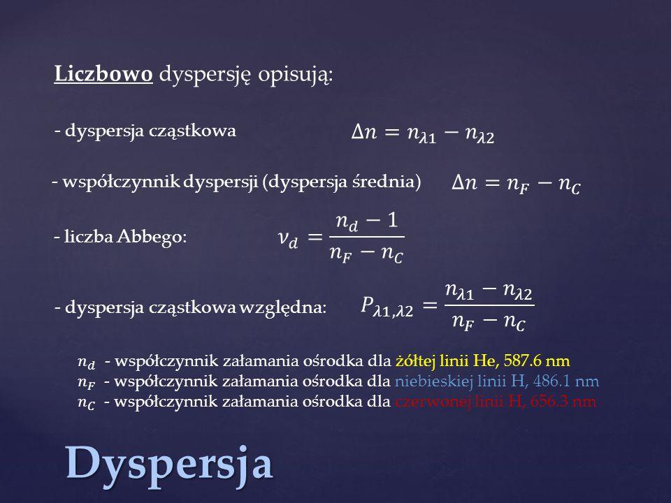 Dyspersja Liczbowo dyspersję opisują: - współczynnik dyspersji (dyspersja średnia) - liczba Abbego: - dyspersja cząstkowa względna: - dyspersja cząstk