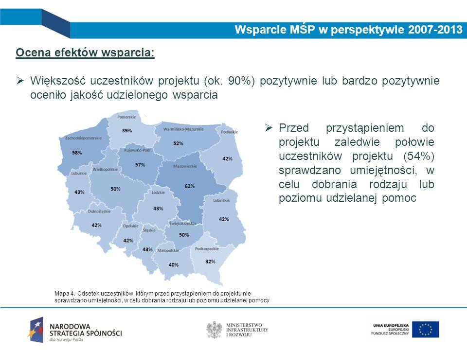 Wsparcie MŚP w perspektywie 2007-2013 Ocena efektów wsparcia:  Większość uczestników projektu (ok. 90%) pozytywnie lub bardzo pozytywnie oceniło jako
