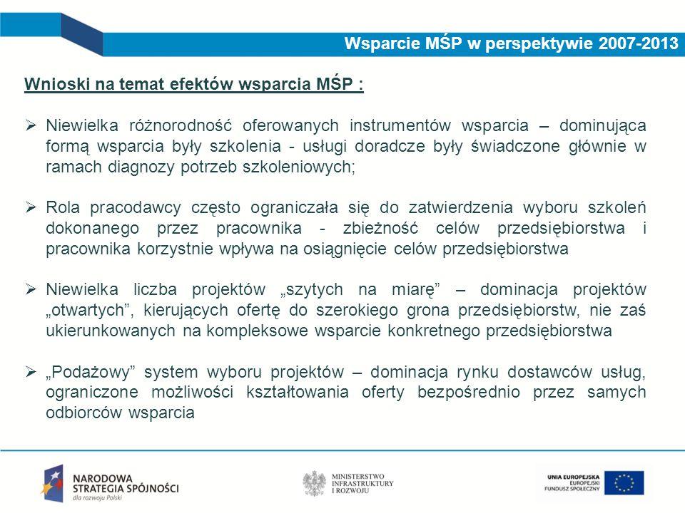 Wsparcie MŚP w perspektywie 2007-2013 Wnioski na temat efektów wsparcia MŚP :  Niewielka różnorodność oferowanych instrumentów wsparcia – dominująca