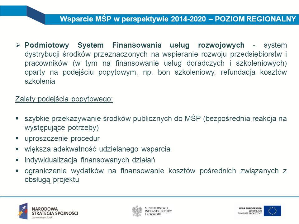 Wsparcie MŚP w perspektywie 2014-2020 – POZIOM REGIONALNY  Podmiotowy System Finansowania usług rozwojowych - system dystrybucji środków przeznaczony