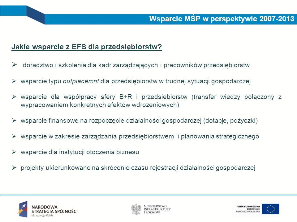 Jakie wsparcie z EFS dla przedsiębiorstw?  doradztwo i szkolenia dla kadr zarządzających i pracowników przedsiębiorstw  wsparcie typu outplacemnt dl