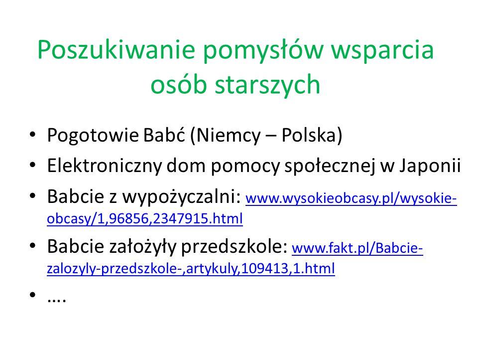 Poszukiwanie pomysłów wsparcia osób starszych Pogotowie Babć (Niemcy – Polska) Elektroniczny dom pomocy społecznej w Japonii Babcie z wypożyczalni: www.wysokieobcasy.pl/wysokie- obcasy/1,96856,2347915.html www.wysokieobcasy.pl/wysokie- obcasy/1,96856,2347915.html Babcie założyły przedszkole: www.fakt.pl/Babcie- zalozyly-przedszkole-,artykuly,109413,1.html www.fakt.pl/Babcie- zalozyly-przedszkole-,artykuly,109413,1.html ….
