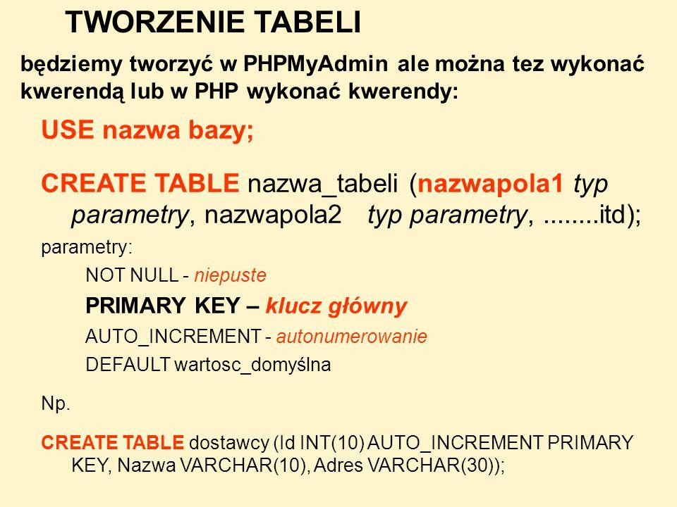 USE nazwa bazy; CREATE TABLE nazwa_tabeli (nazwapola1 typ parametry, nazwapola2 typ parametry,........itd); parametry: NOT NULL - niepuste PRIMARY KEY