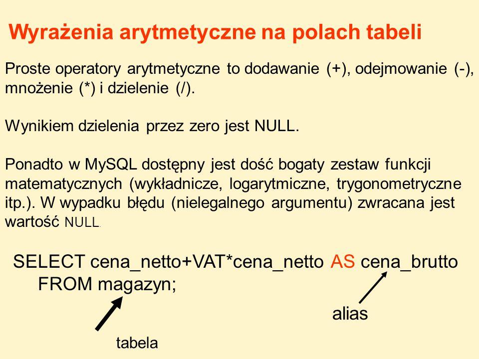 Proste operatory arytmetyczne to dodawanie (+), odejmowanie (-), mnożenie (*) i dzielenie (/). Wynikiem dzielenia przez zero jest NULL. Ponadto w MySQ