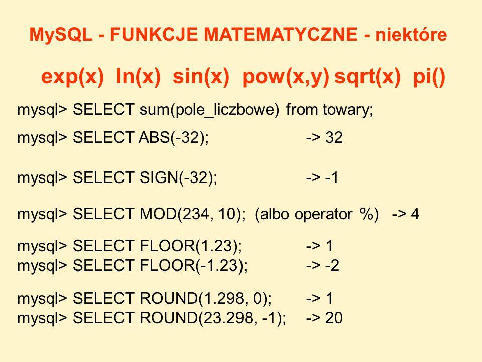 mysql> SELECT SIGN(-32); -> -1 mysql> SELECT MOD(234, 10); (albo operator %) -> 4 mysql> SELECT ABS(-32); -> 32 mysql> SELECT FLOOR(1.23); -> 1 mysql>