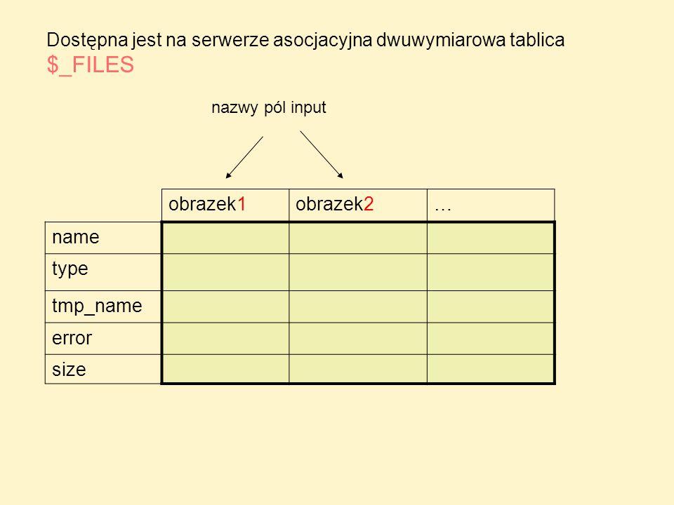 <?php //print_r($_FILES); echo ; if (isset($_FILES[ obrazek ])) { if ($_FILES[ obrazek ][ error ]==0) { echo tmp_name: .$_FILES[ obrazek ][ tmp_name ]; echo name: .$_FILES[ obrazek ][ name ]; if (is_uploaded_file($_FILES[ obrazek ][ tmp_name ])) if (!file_exists( ./zdjecia/ .$_FILES[ obrazek ][ name ])) { move_uploaded_file ($_FILES[ obrazek ][ tmp_name ], ./zdjecia/ .$_FILES[ obrazek ][ name ]); // tu można dodać nazwę pliku do bazy danych echo Plik dodany ; } else echo Taki plik już był w tym katalogu ; } cd.