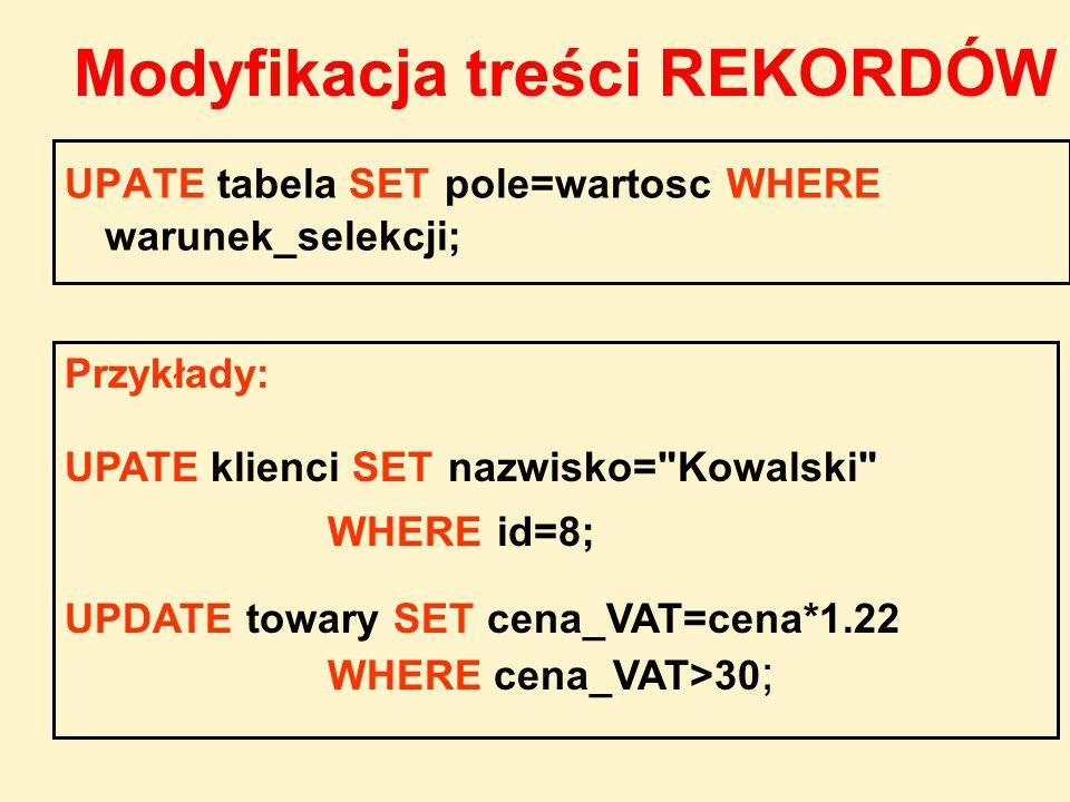 UPATE tabela SET pole=wartosc WHERE warunek_selekcji; Przykłady: UPATE klienci SET nazwisko=
