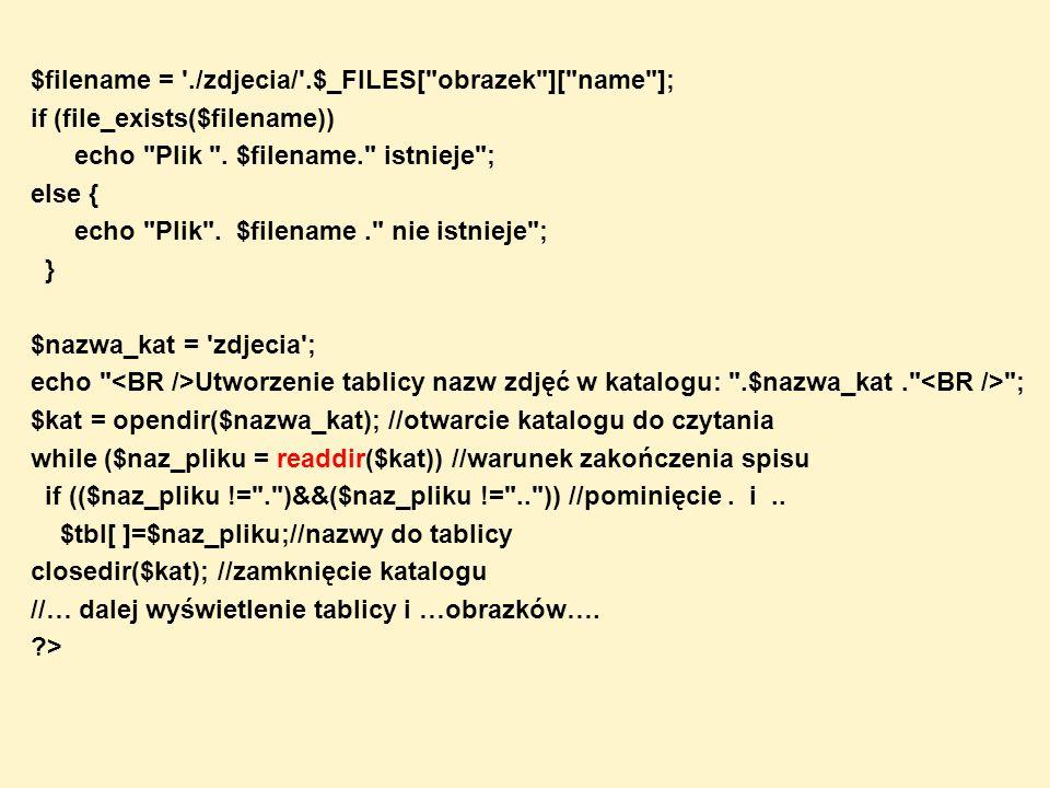 mysql_num_rows($wynik) Funkcja – zwraca liczbę znalezionych rekordów SELECT- parametrem jest wartość zmiennej rezultatu ($wynik) mysql_query Przykład: $ile = mysql_num_rows($wynik); echo Rekordów: .