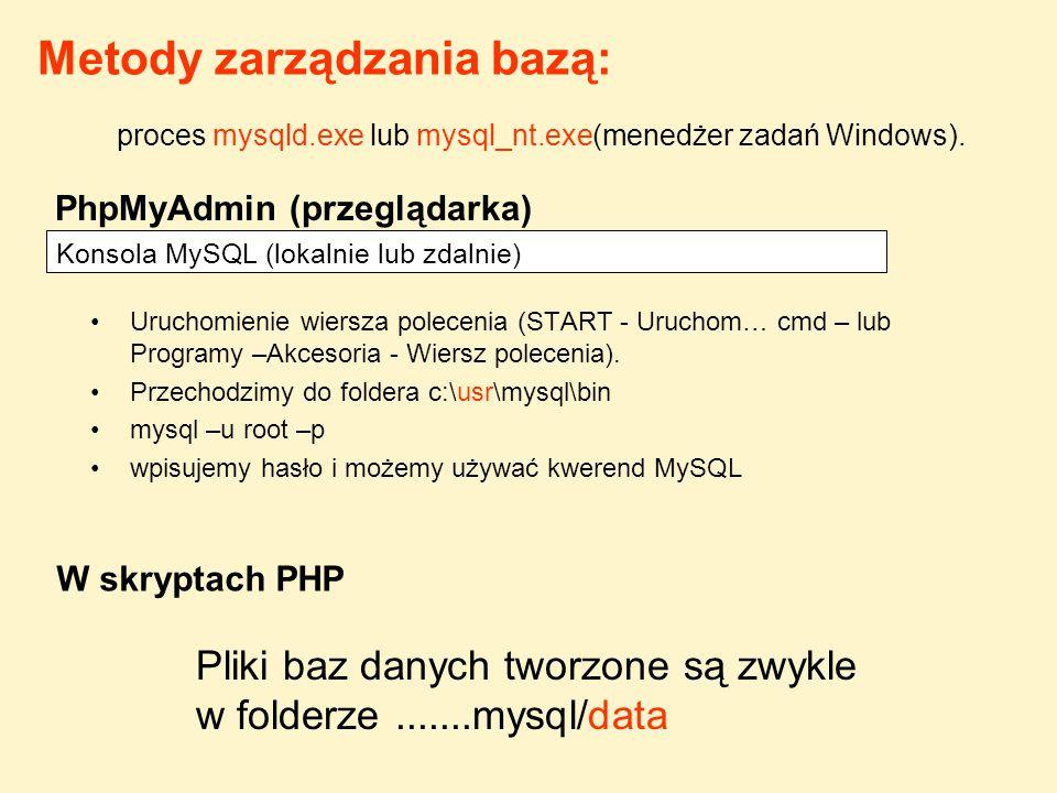 Uruchomienie lokalne konsoli MySQL c:\usr\mysql\bin>mysql –u root –p Password:..............