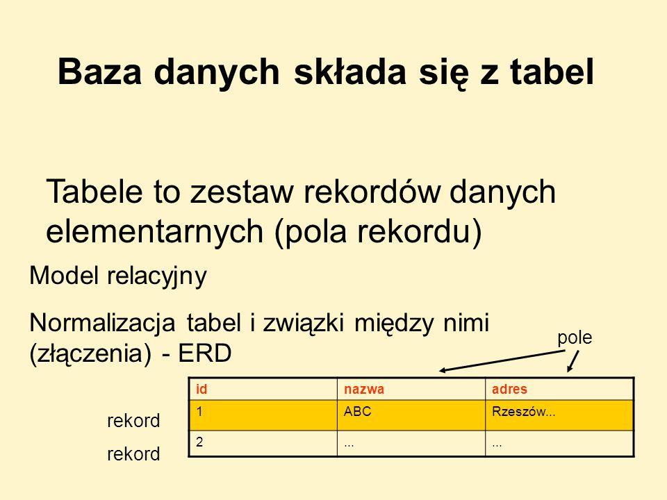 OPERACJE SQL NA BAZIE (kwerendy) tworzenie bazy i tabeli selekcja rekordów wstawianie rekordów modyfikacja treści rekordów modyfikacja struktury usuwanie rekordów, tabeli, bazy Poznanie języka SQL będzie nam potrzebne do wykonania opreacji na bazie w skryptach PHP
