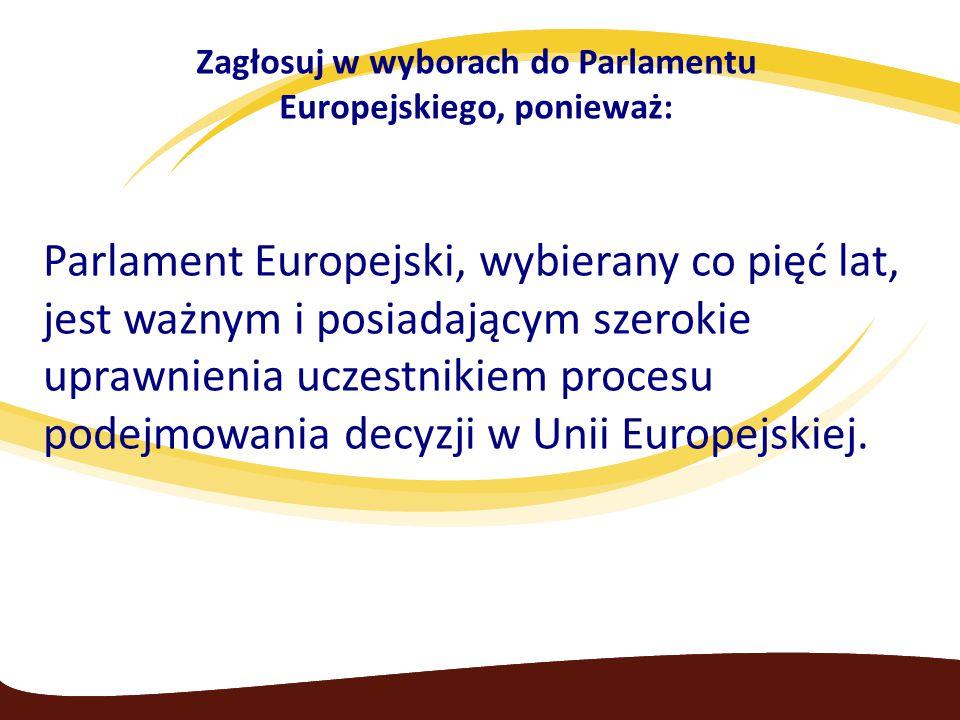 Zagłosuj w wyborach do Parlamentu Europejskiego, ponieważ: Parlament Europejski, wybierany co pięć lat, jest ważnym i posiadającym szerokie uprawnienia uczestnikiem procesu podejmowania decyzji w Unii Europejskiej.